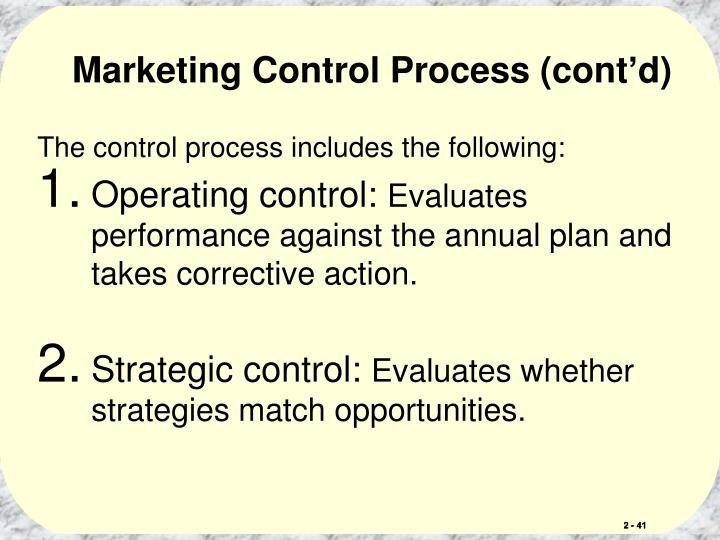 Marketing Control Process (cont'd)