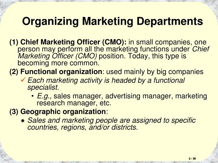 Organizing Marketing Departments