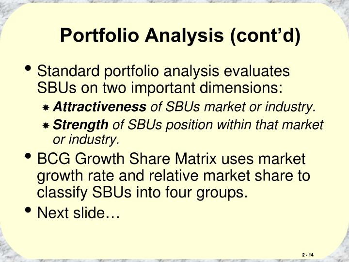 Portfolio Analysis (cont'd)