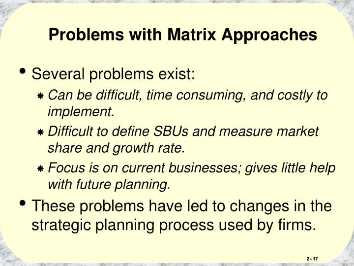 Problems with Matrix Approaches