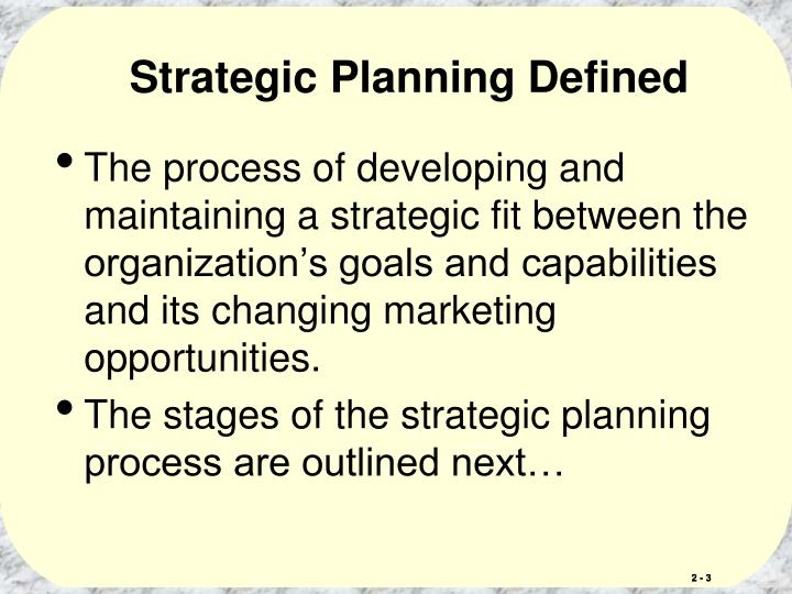 Strategic planning defined