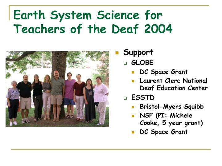 earth system science for teachers of the deaf 2004 n.