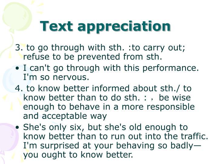 Text appreciation