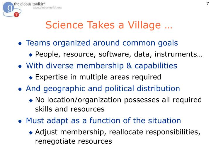 Science Takes a Village …