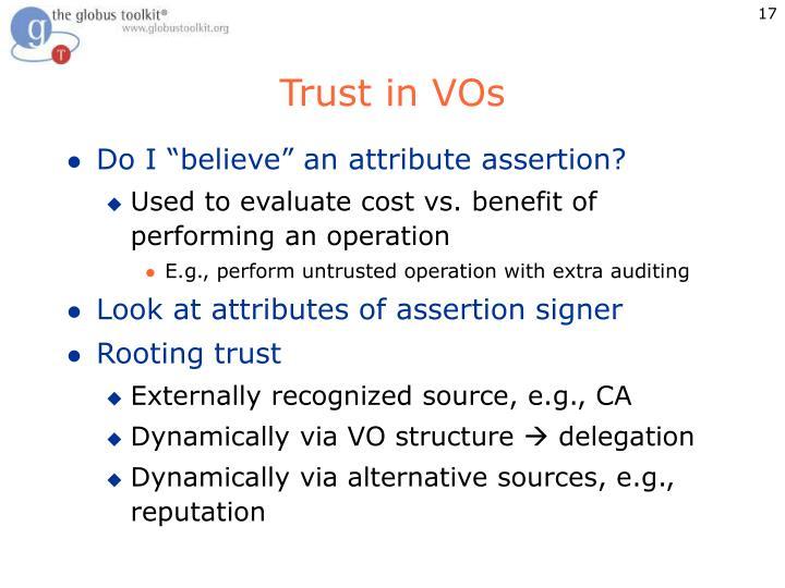 Trust in VOs