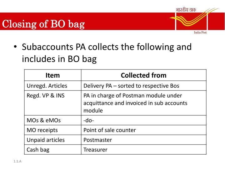 Closing of BO bag