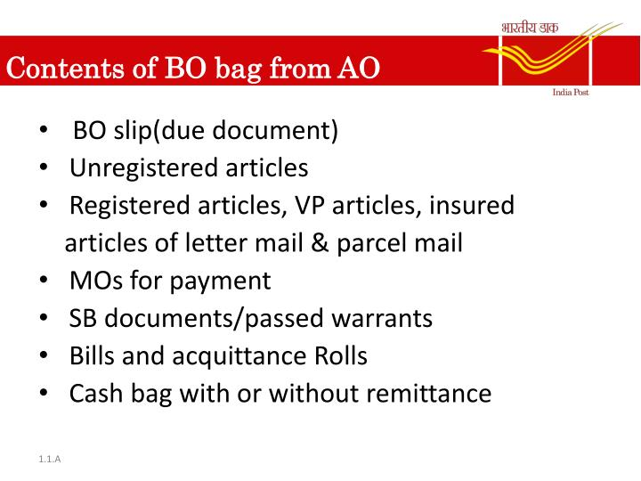 Contents of BO bag from AO