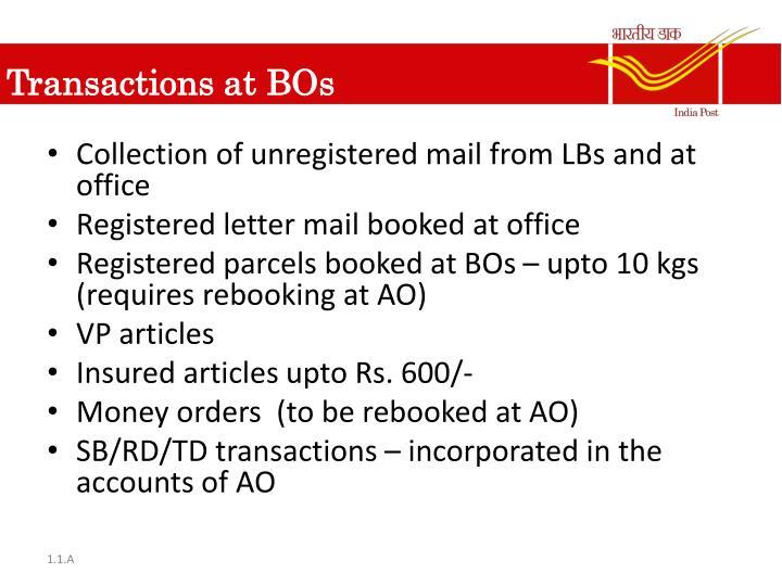 Transactions at BOs