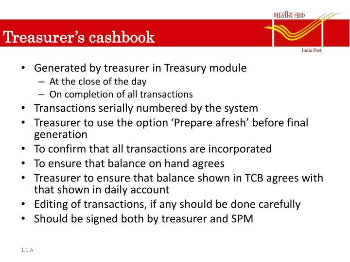Treasurer's cashbook
