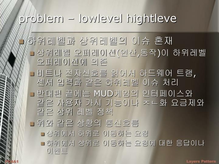problem – lowlevel hightleve