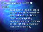 commissioner s sboe rules
