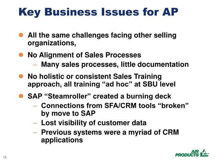 Key Business Issues for AP