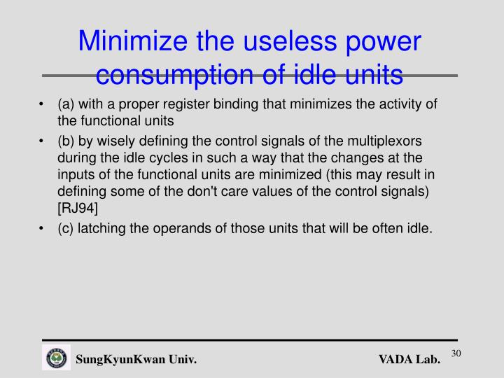 Minimize the useless power consumption of idle units