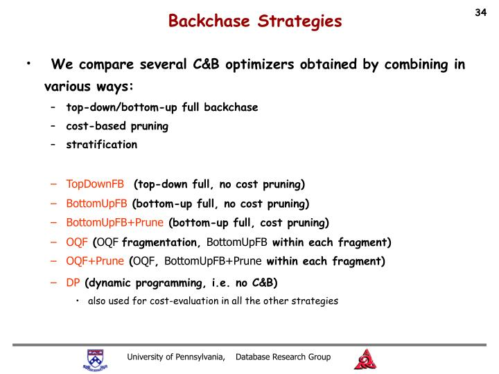 Backchase Strategies