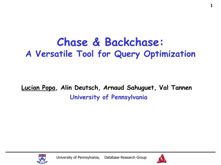 chase backchase a versatile tool for query optimization n.