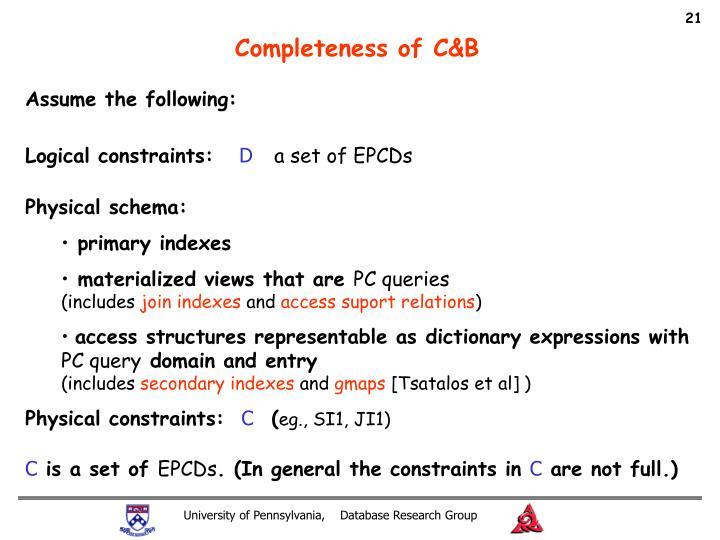 Completeness of C&B