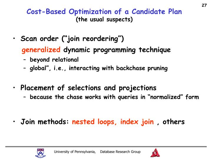 Cost-Based Optimization of a Candidate Plan