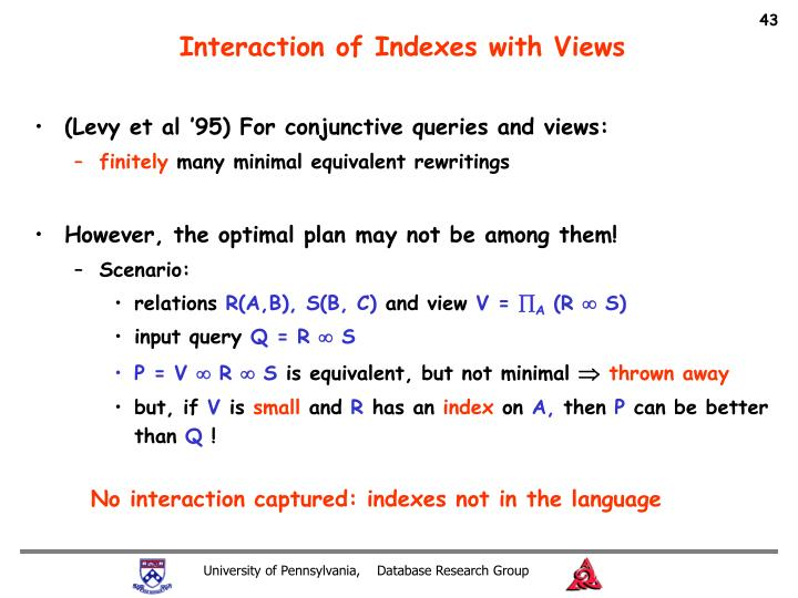 Interaction of Indexes with Views