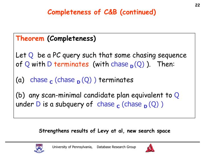 Completeness of C&B (continued)