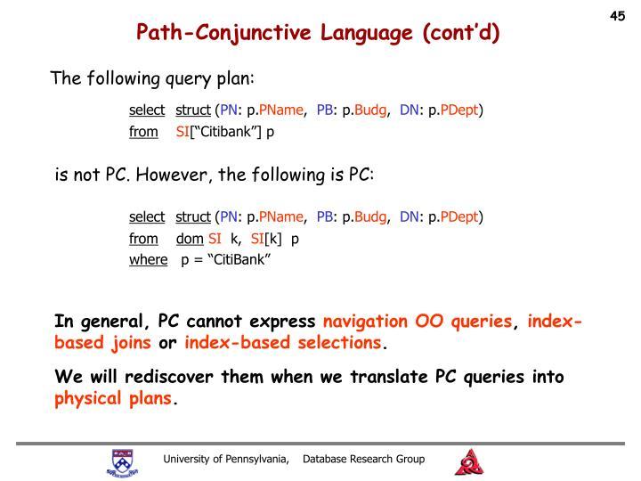 Path-Conjunctive Language (cont'd)