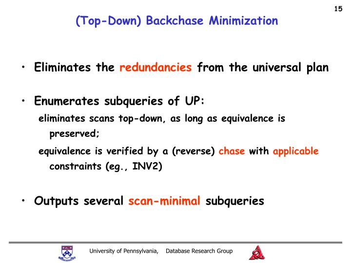 (Top-Down) Backchase Minimization