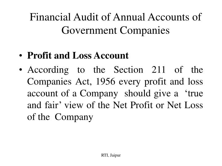 financial audit of annual accounts of government companies n.