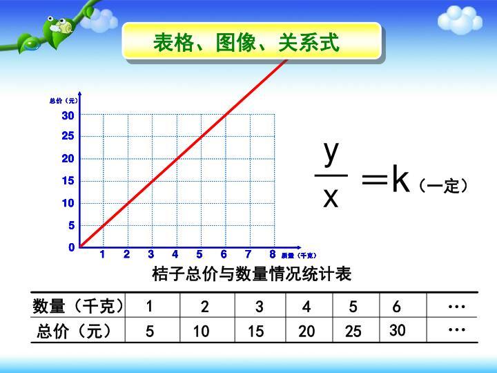 桔子总价与数量情况统计表