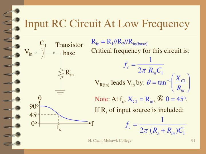 Input RC Circuit At Low Frequency
