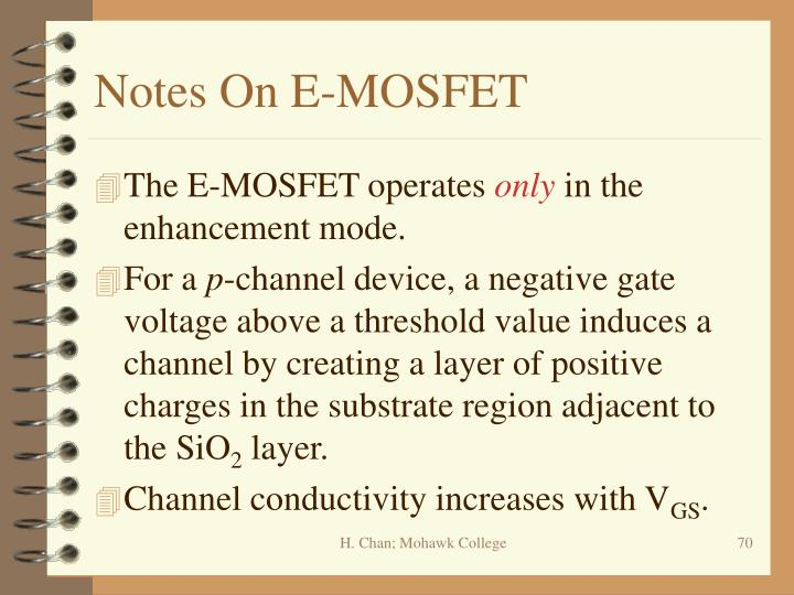 Notes On E-MOSFET