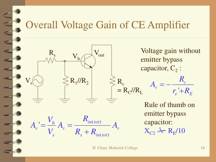 Overall Voltage Gain of CE Amplifier