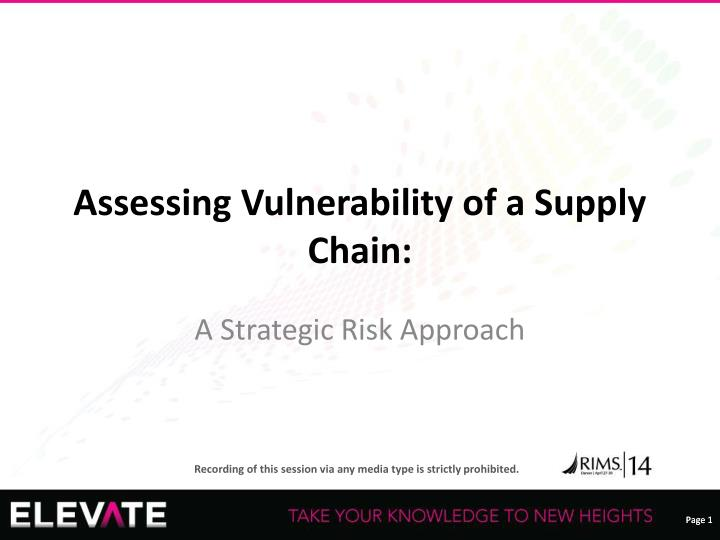 assessing vulnerability of a supply chain n.