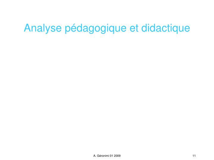 Analyse pédagogique et didactique