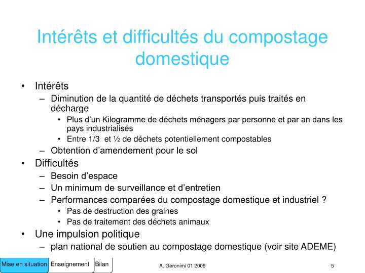 Intérêts et difficultés du compostage domestique