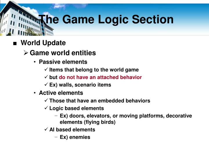 The Game Logic Section