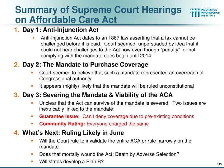 Summary of Supreme Court Hearings on Affordable Care Act
