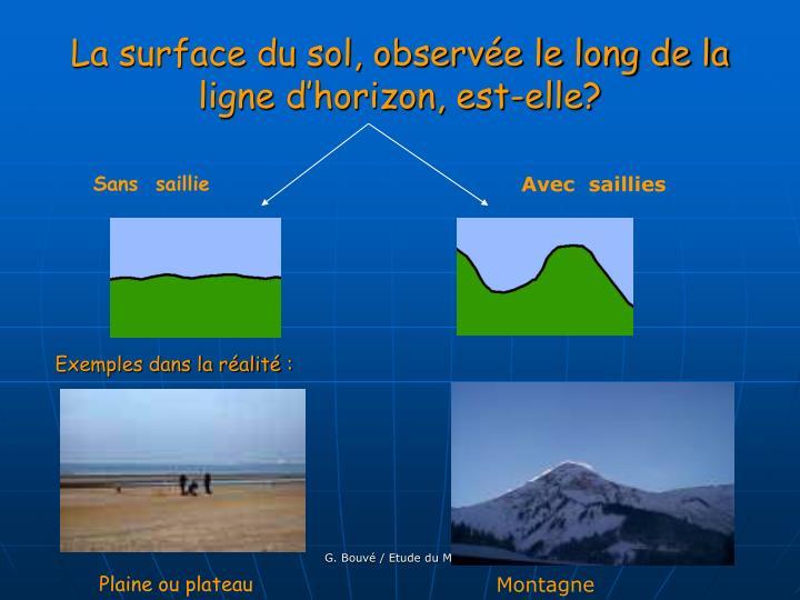 La surface du sol, observée le long de la ligne d'horizon, est-elle?