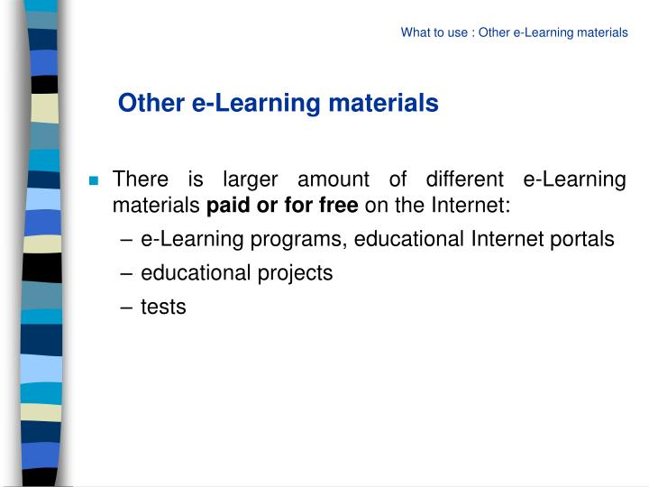 Other e-Learning materials