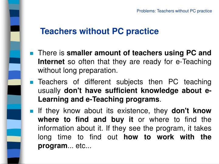 Teachers without PC practice