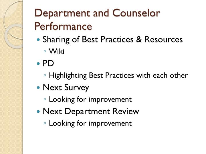 Department and Counselor Performance