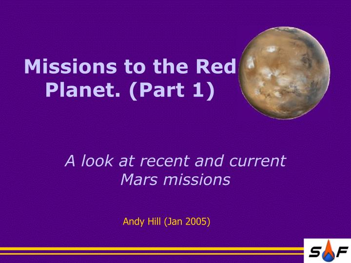 missions to the red planet part 1 n.