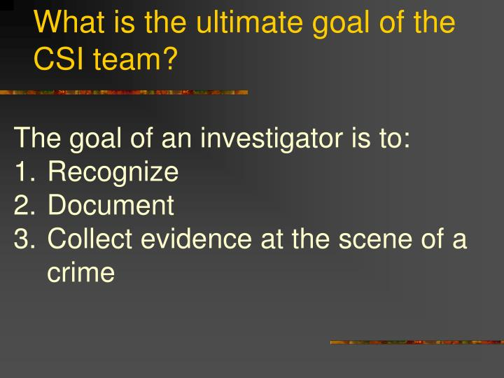 What is the ultimate goal of the CSI team?
