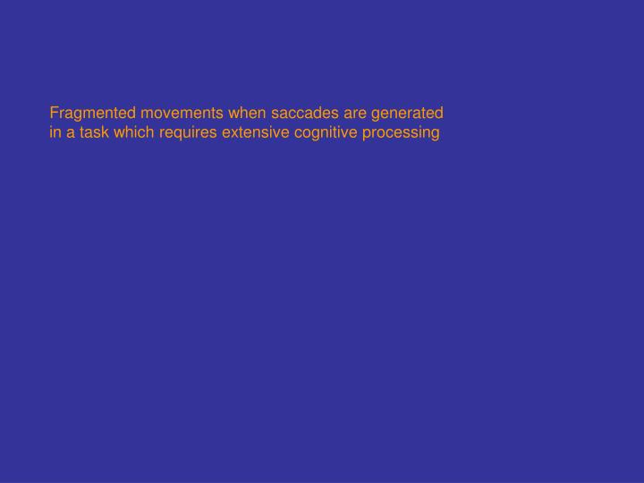 Fragmented movements when saccades are generated