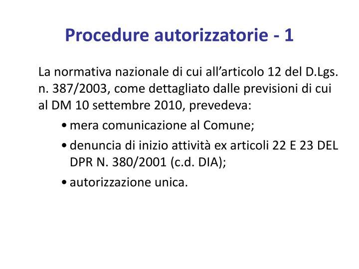 Procedure autorizzatorie 1