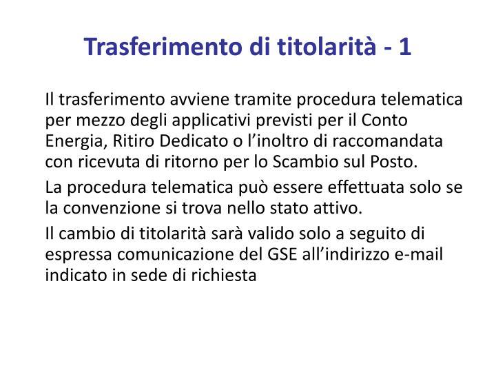 Trasferimento di titolarità - 1