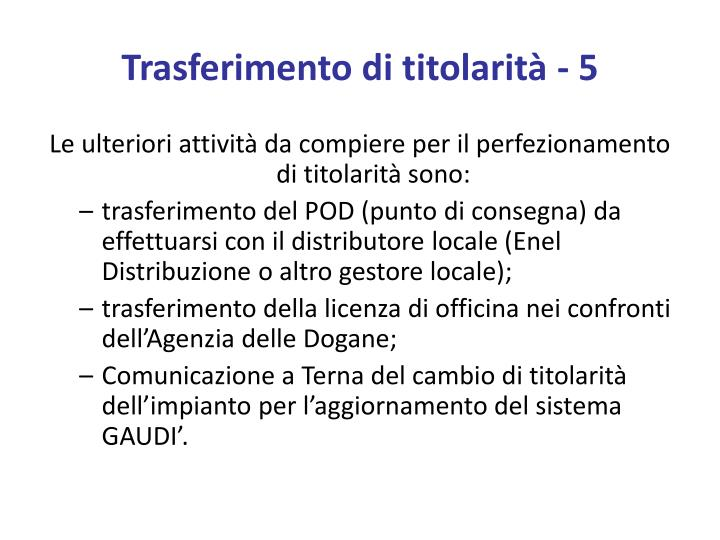 Trasferimento di titolarità - 5