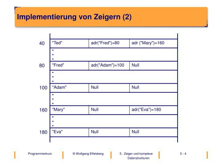 Implementierung von Zeigern (2)