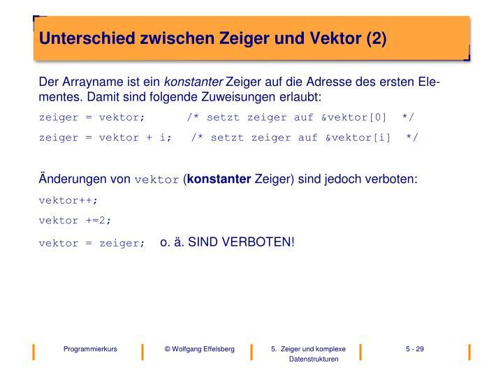 Unterschied zwischen Zeiger und Vektor (2)