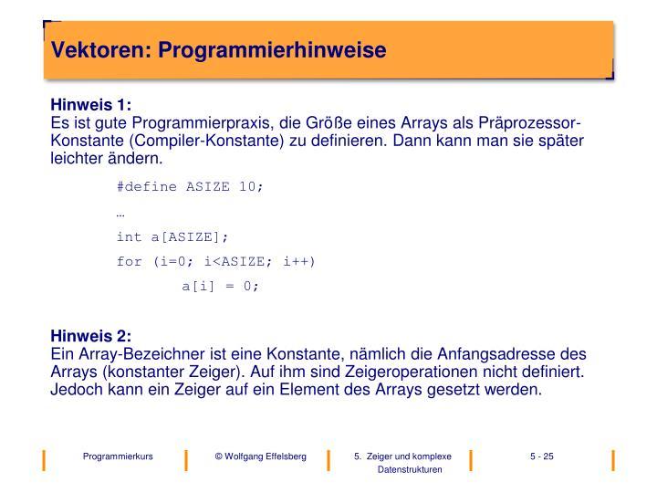 Vektoren: Programmierhinweise