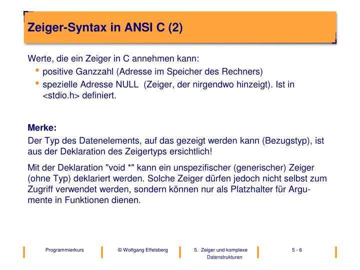 Zeiger-Syntax in ANSI C (2)