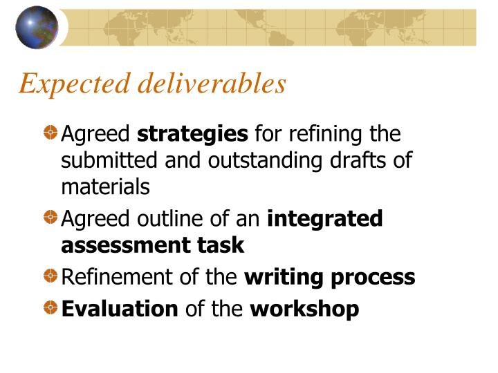 Expected deliverables